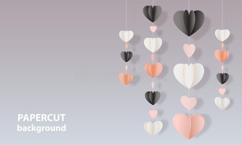 与桃红色的传染媒介背景,黑白颜色纸削减了形状心脏 3D抽象纸艺术样式,设计版面 向量例证