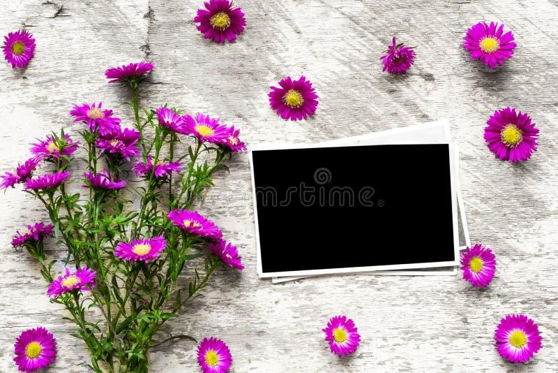 与桃红色的空白的照片框架开花花束投入您的图片 免版税图库摄影