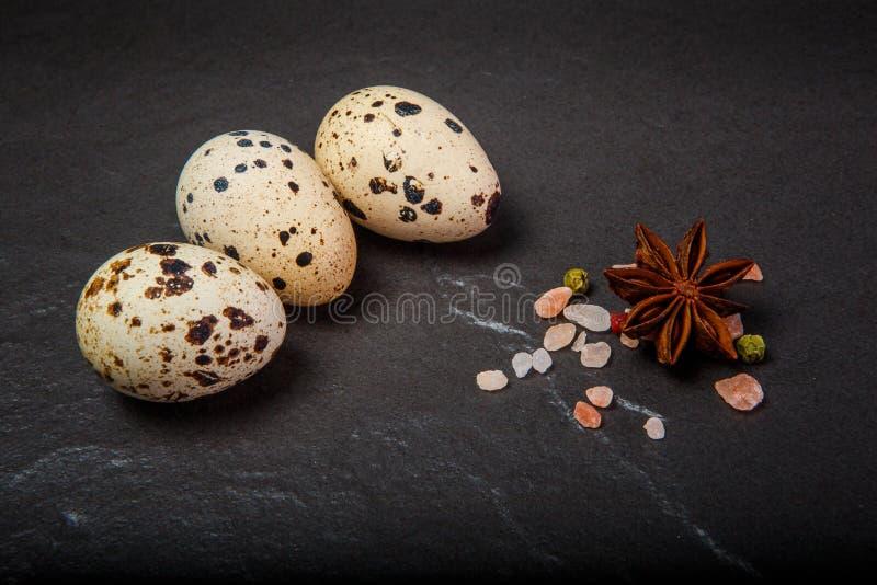 与桃红色盐和香料的特写镜头三小鹌鹑蛋 图库摄影