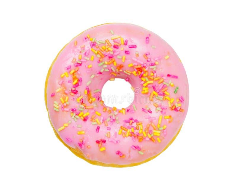 与桃红色结冰的多福饼 免版税库存图片
