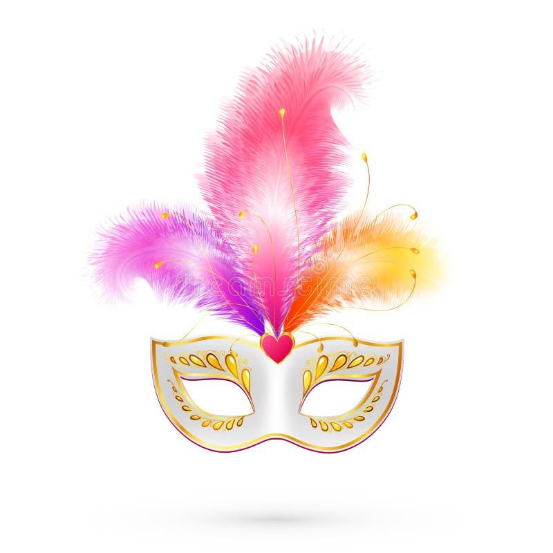 与桃红色羽毛的白色传染媒介狂欢节面具 向量例证