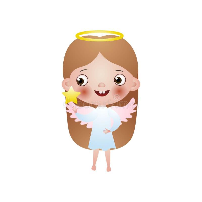 与桃红色翼的逗人喜爱的女孩长发天使 库存例证