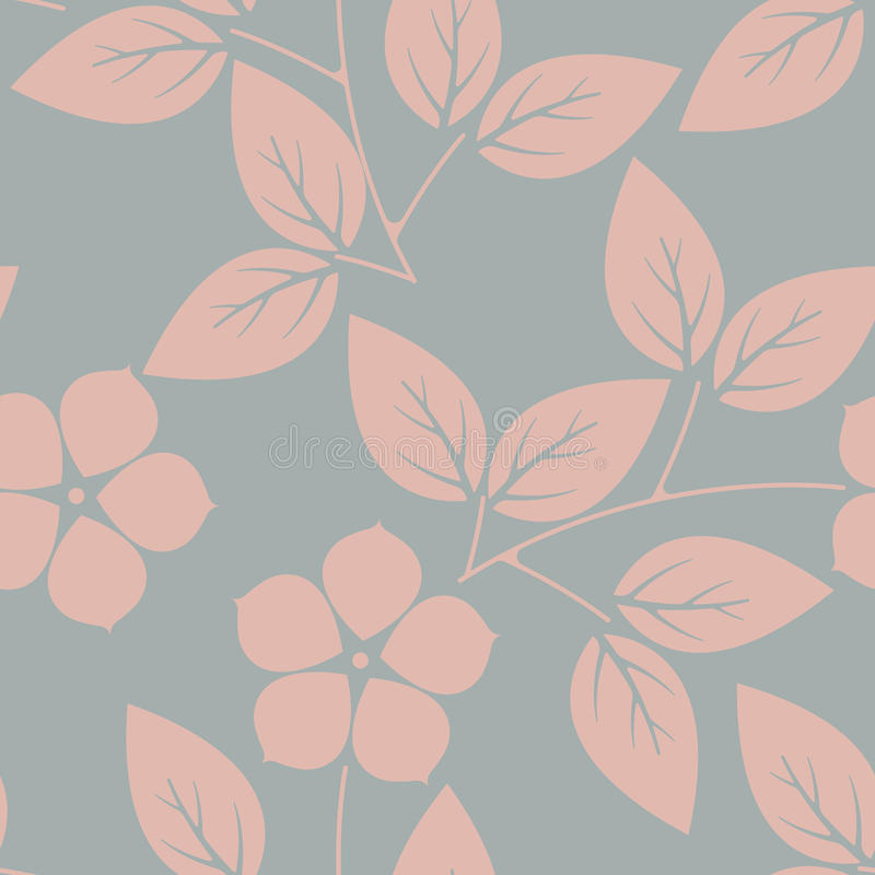 与桃红色花和叶子的时髦的不尽的样式在灰色bac 库存例证