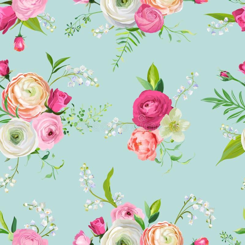 与桃红色花和百合的花卉无缝的样式 织品纺织品的,墙纸,包装纸植物的背景 向量例证
