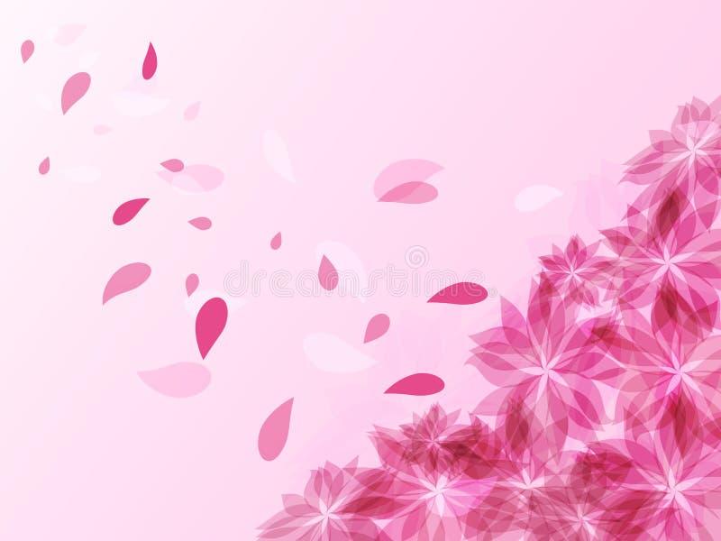 与桃红色花和飞行瓣的抽象背景 库存例证