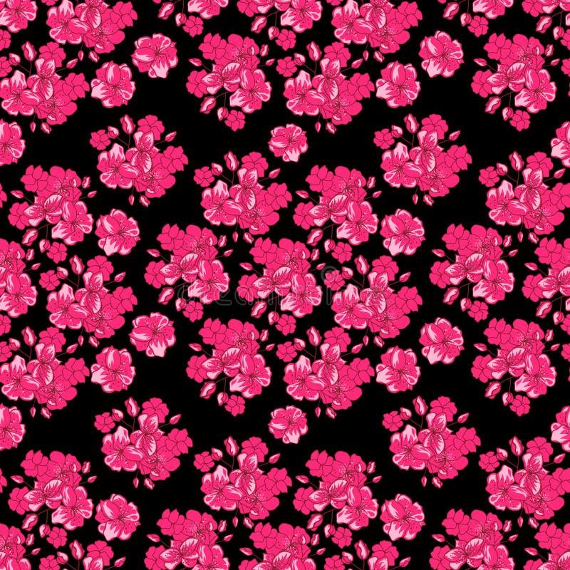 与桃红色花的情人节背景-在白色背景的日本樱花 无缝的模式 皇族释放例证