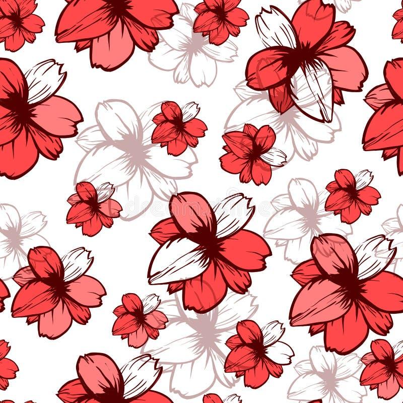 与桃红色花的无缝的样式在白色背景 传染媒介时尚织品纺织品设计 皇族释放例证
