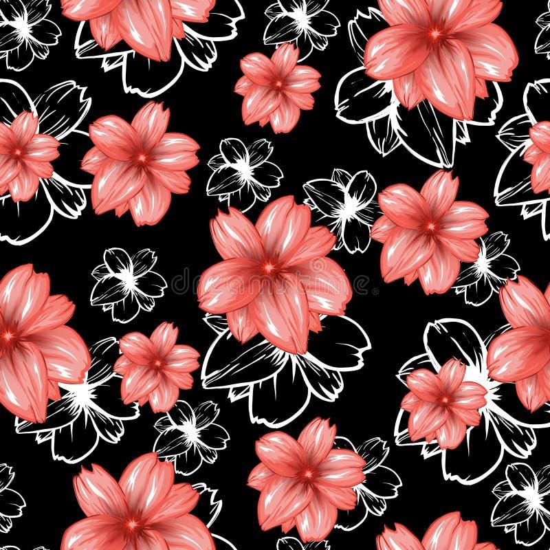 与桃红色花的无缝的样式在黑背景 传染媒介时尚织品纺织品设计 皇族释放例证