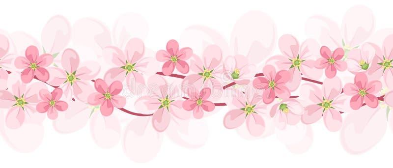 与桃红色花的水平的无缝的背景。 库存例证
