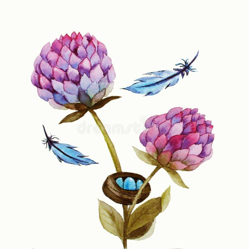 与桃红色花的水彩例证 库存照片
