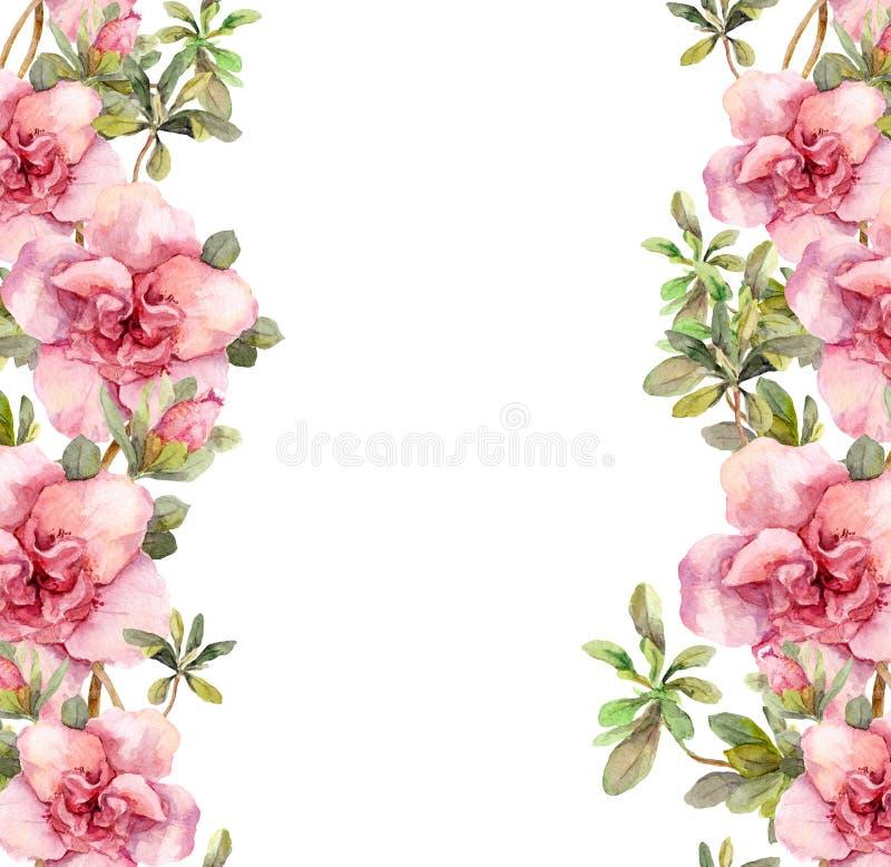 与桃红色花的花卉无缝的水彩框架边界 Aquarel 向量例证