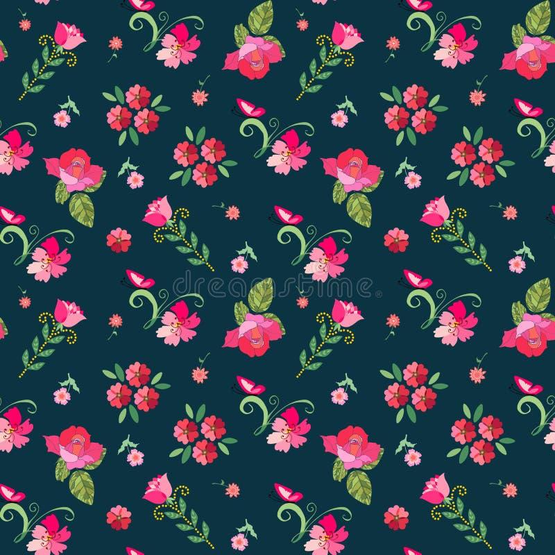 与桃红色花的逗人喜爱的无缝的花卉样式在深蓝背景 向量例证