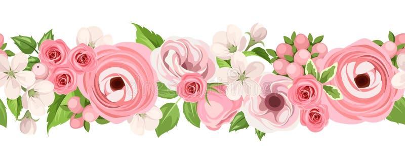 与桃红色花的水平的无缝的背景 也corel凹道例证向量 皇族释放例证