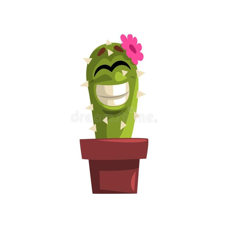 与桃红色花,有滑稽的面孔的多汁植物的愉快的微笑的仙人掌字符在花盆在a的传染媒介例证 库存例证