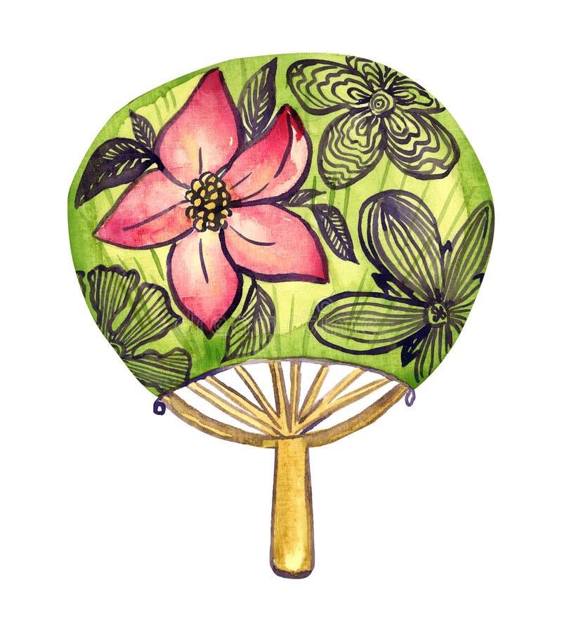 与桃红色莲花的传统圆的亚洲爱好者 皇族释放例证