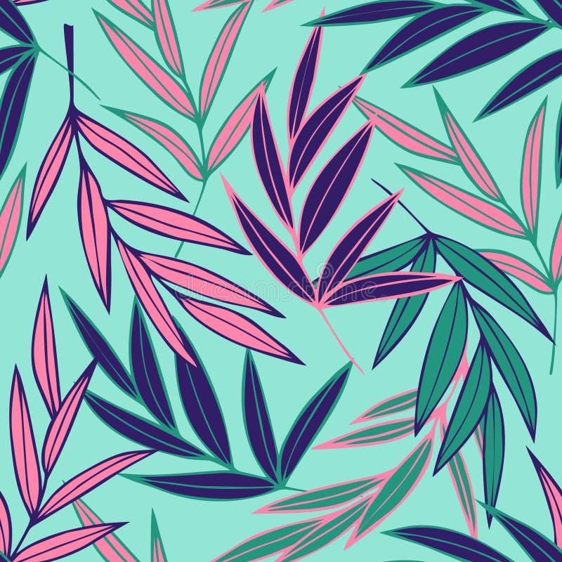 与桃红色蓝色和绿色热带棕榈叶的无缝的样式 库存例证