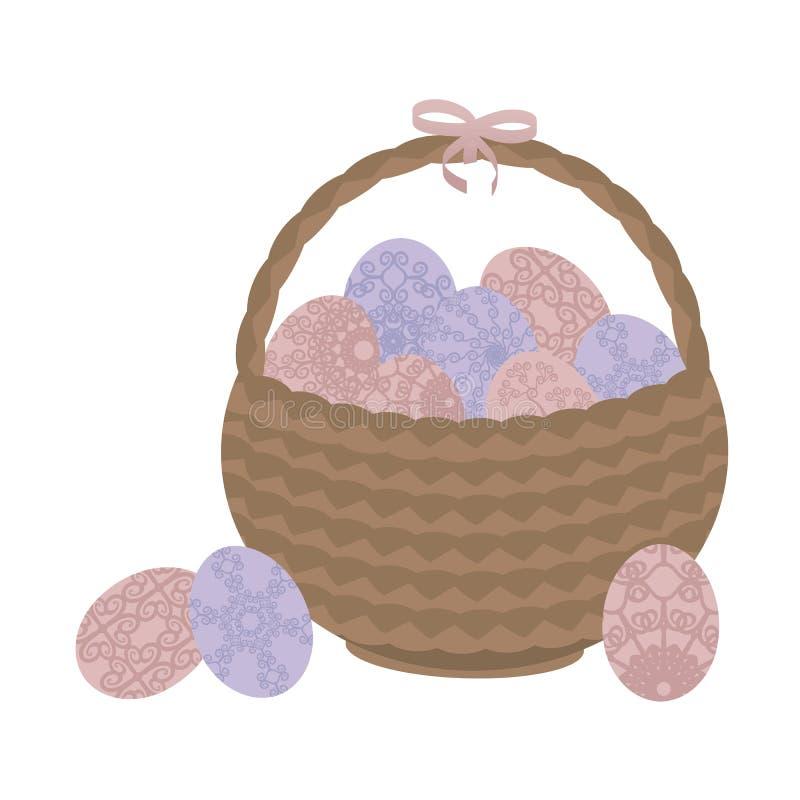 与桃红色被仿造的花的浅褐色的柳条筐复活节和蓝色在白色背景隔绝的鸡蛋和一把桃红色弓 皇族释放例证