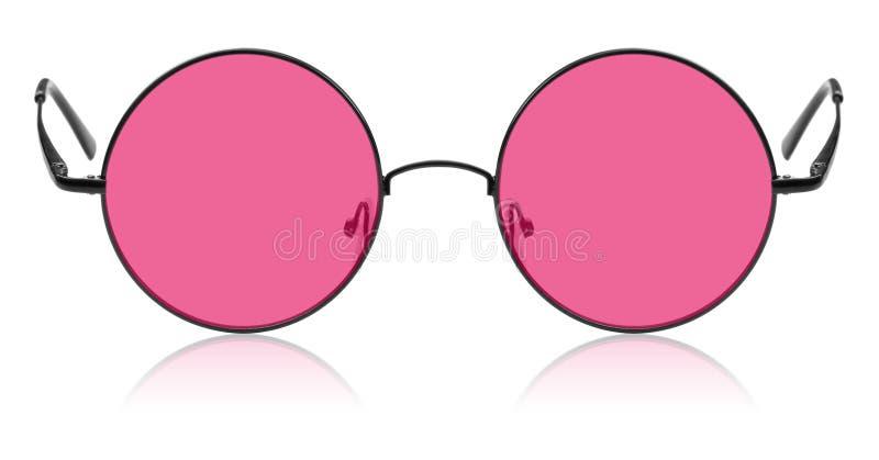 与桃红色透镜的圆的嬉皮的玻璃 免版税库存照片