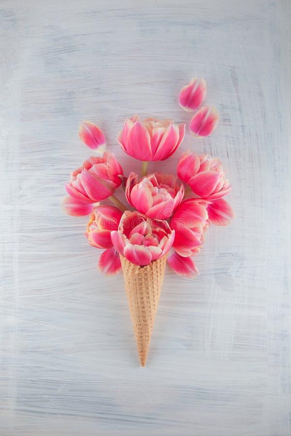 与桃红色郁金香开花的Flatlay奶蛋烘饼甜冰淇凌开花在白色木背景 图库摄影