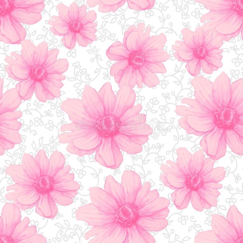 与桃红色银莲花属花的水彩五颜六色的样式在白色背景 手图画例证 库存例证