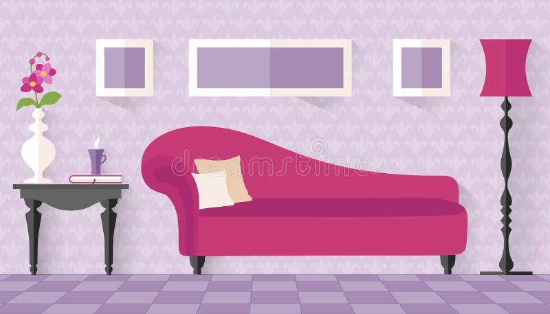 与桃红色长沙发的内部在平的样式 向量例证
