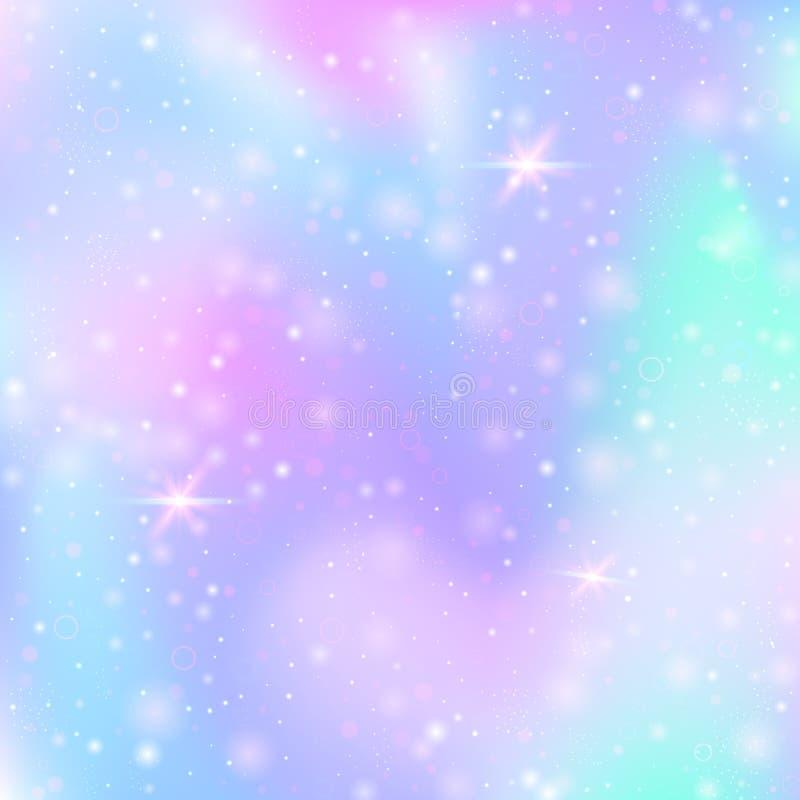 与桃红色闪烁心脏的华伦泰背景 2月14日天 库存例证