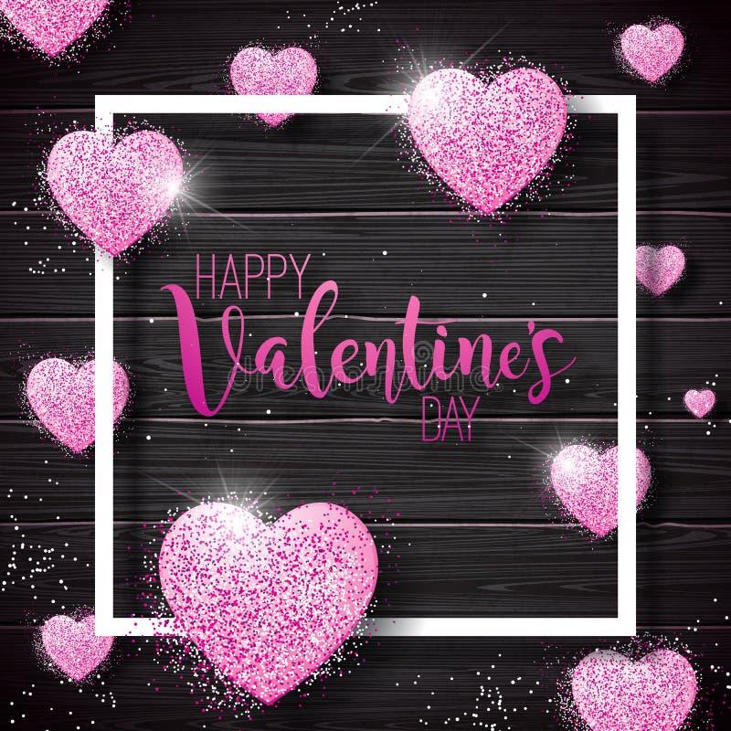 与桃红色闪烁的壁炉边的愉快的情人节例证在葡萄酒木头背景 传染媒介婚礼和爱题材 库存例证