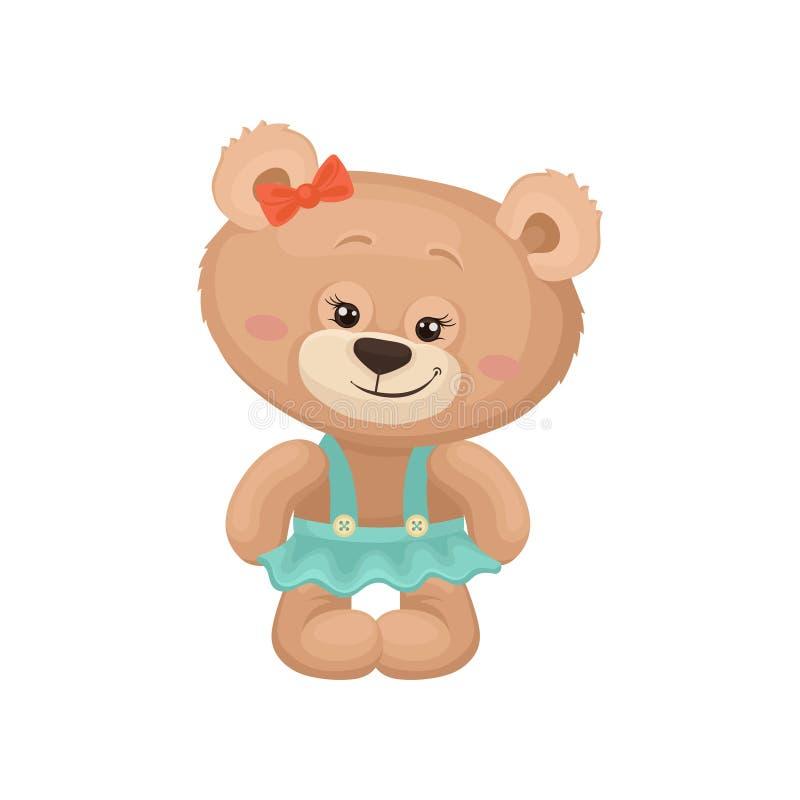 与桃红色面颊和发光的眼睛的娘儿们玩具熊在绿松石裙子穿戴了 逗人喜爱的长毛绒玩具 海报的平的传染媒介或 库存例证