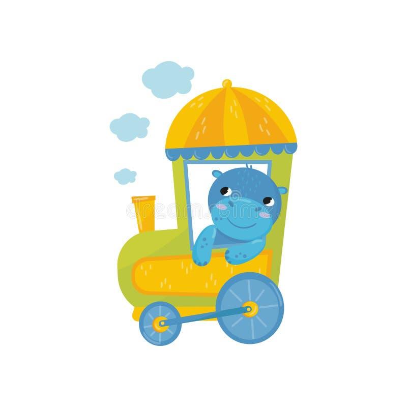 与桃红色面颊的可爱的蓝色巨兽在火车 滑稽的小的河马漫画人物  五颜六色的平的传染媒介元素 向量例证