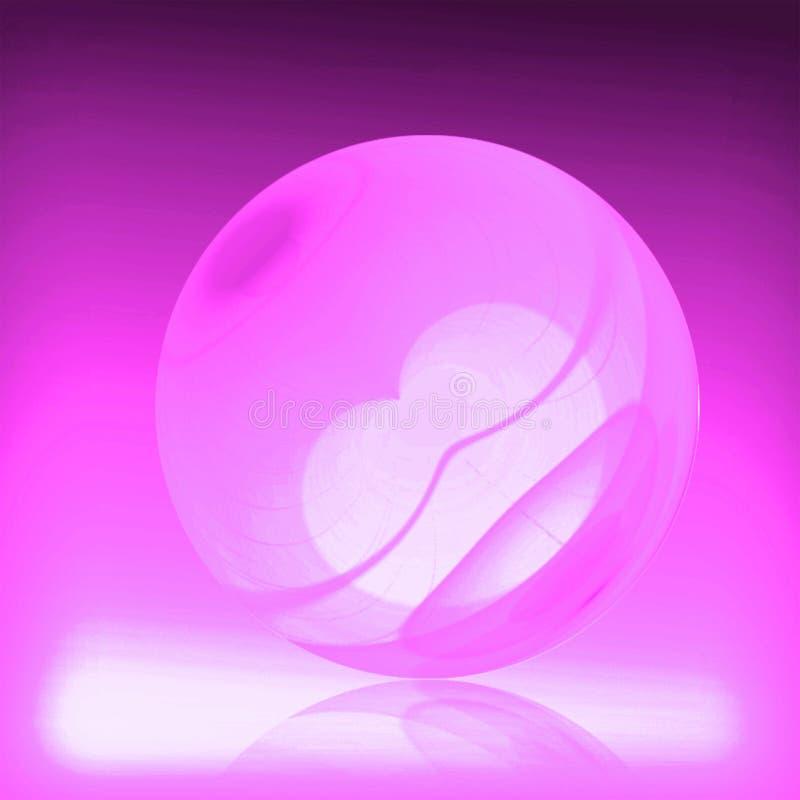 与桃红色颜色的玻璃天体和心脏在中心 美好的反映 向量例证
