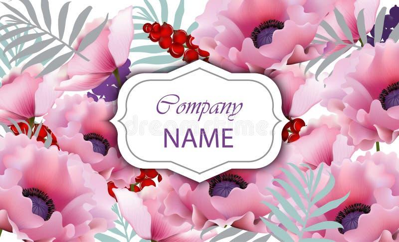 与桃红色鸦片花的美丽的卡片 向量 皇族释放例证