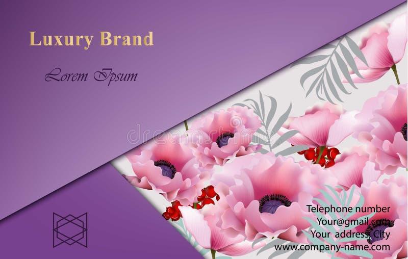 与桃红色鸦片花的豪华品牌卡片 下载例证图象准备好的向量 皇族释放例证
