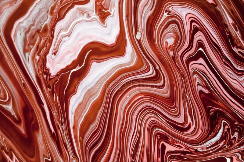 与桃红色,白色和棕色颜色的液体大理石纹理 墙纸的,海报,卡片抽象绘画背景 皇族释放例证