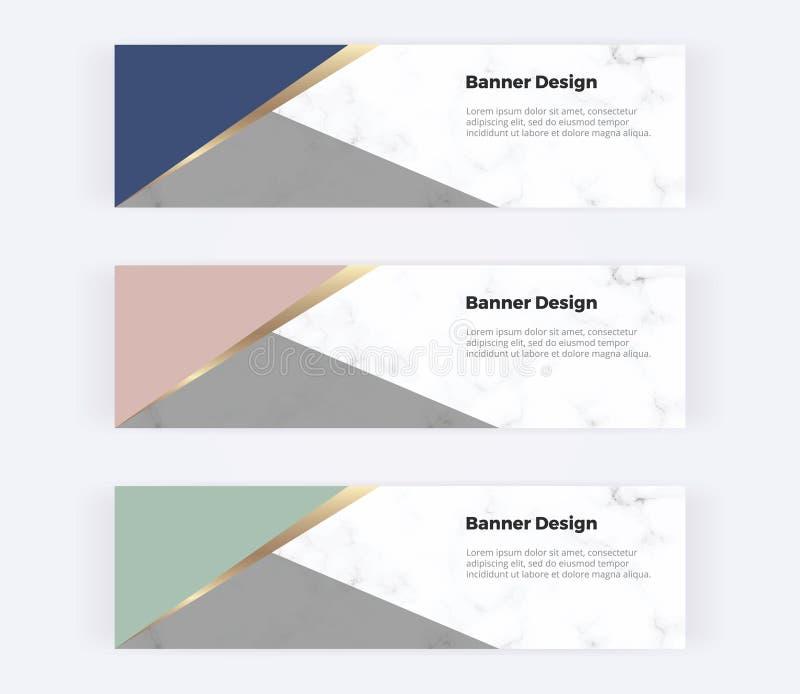 与桃红色,绿色,蓝色和金三角的几何网横幅在大理石纹理 邀请的,商标,卡片现代模板 向量例证