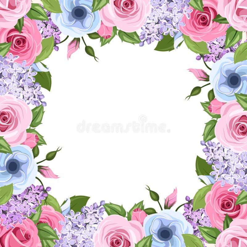 与桃红色,蓝色和紫色玫瑰、lisianthus和丁香的框架开花 也corel凹道例证向量 库存例证