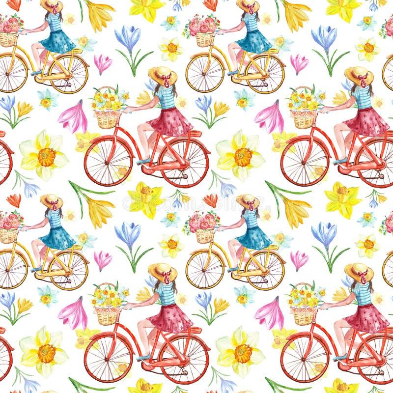 与桃红色,黄色和蓝色花的水彩春天自行车乘驾无缝的样式在白色背景 裙子的逗人喜爱的女孩在胆汁 皇族释放例证