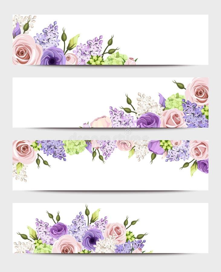 与桃红色,紫色和白玫瑰和淡紫色花的网横幅 向量EPS-10 向量例证