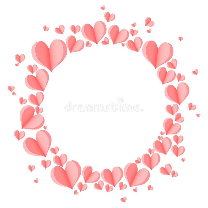 与桃红色3d心脏的时髦的创造性的抽象背景 向量例证