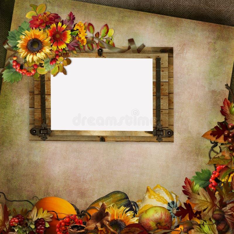 与框架、花、叶子、莓果和南瓜的葡萄酒背景 向量例证