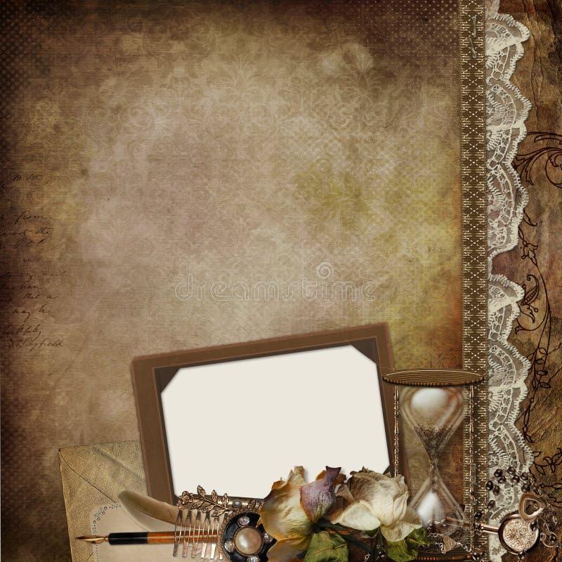 与框架、退色的玫瑰、滴漏和减速火箭的装饰的葡萄酒背景 皇族释放例证