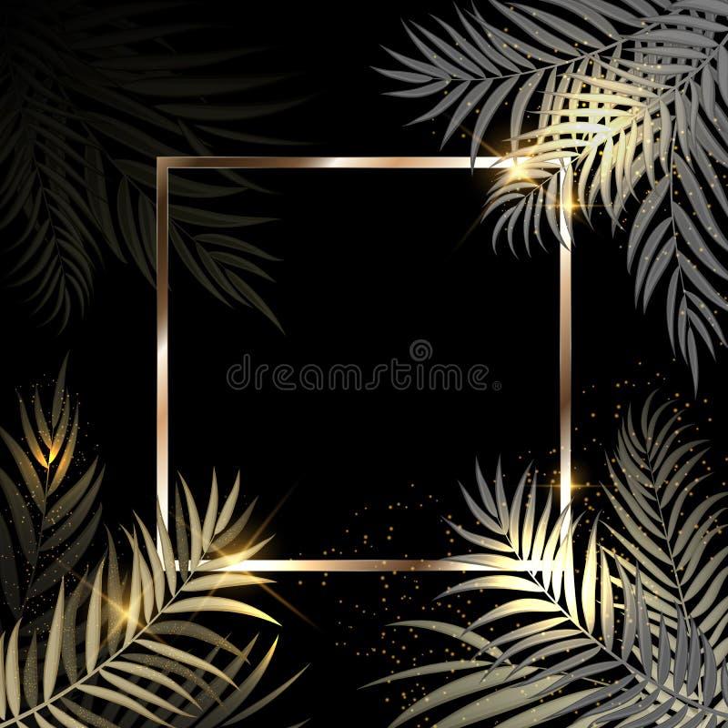 金�yil_与框架传染媒介illustratio的beautifil棕榈树叶子金黄剪影背景