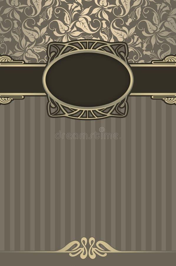 与框架和花卉样式的装饰葡萄酒背景 皇族释放例证