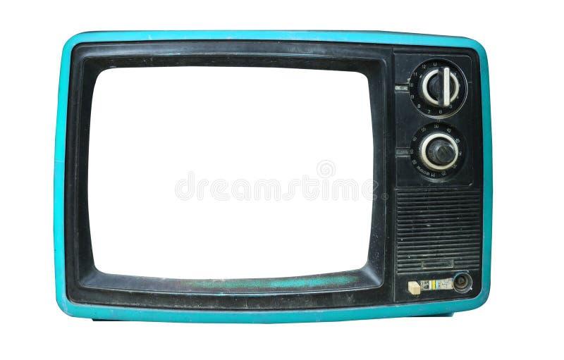 与框架屏幕孤立的老葡萄酒电视在白色 免版税库存图片