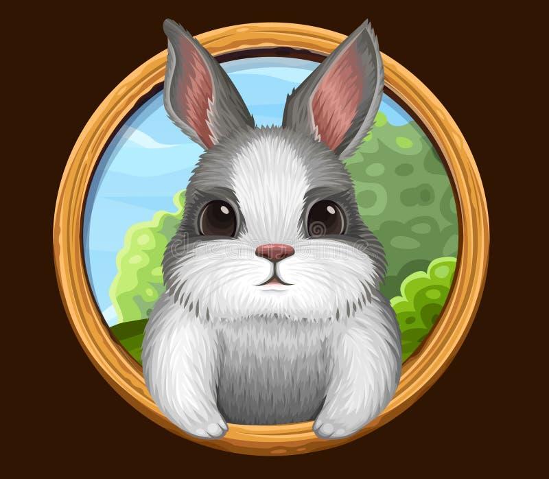 与框架的兔子象 向量例证