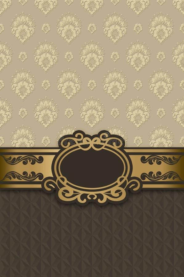 与框架的典雅的花卉葡萄酒背景 向量例证