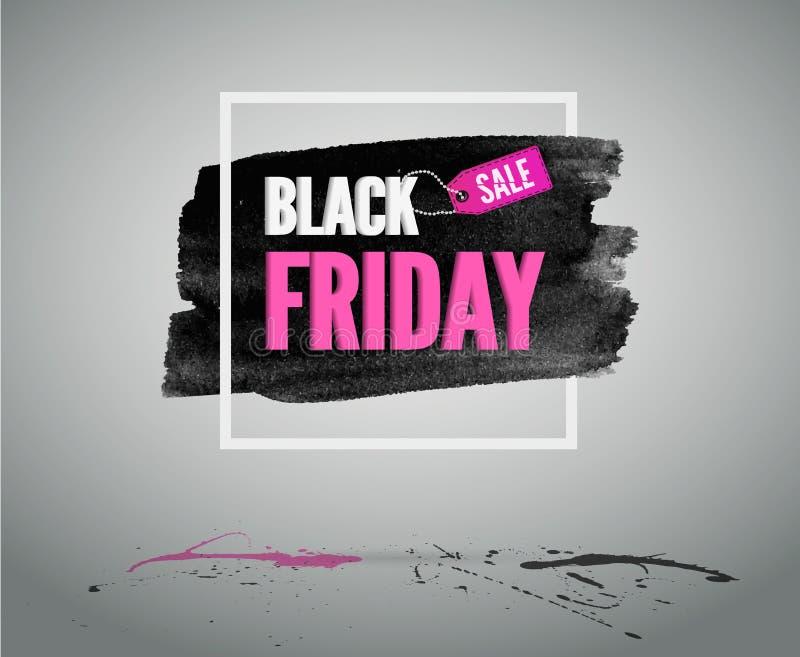 与框架的桃红色卡片 黑星期五销售时尚传染媒介横幅或贺卡 库存例证