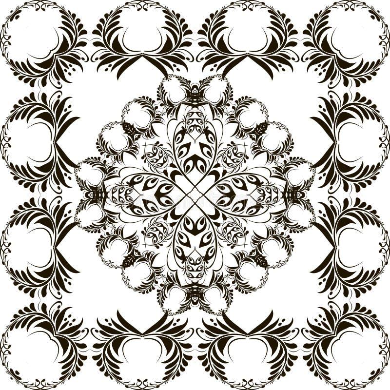 与框架的花卉传染媒介坛场样式 种族样式黑白装饰背景 装饰被隔绝的装饰品与 皇族释放例证
