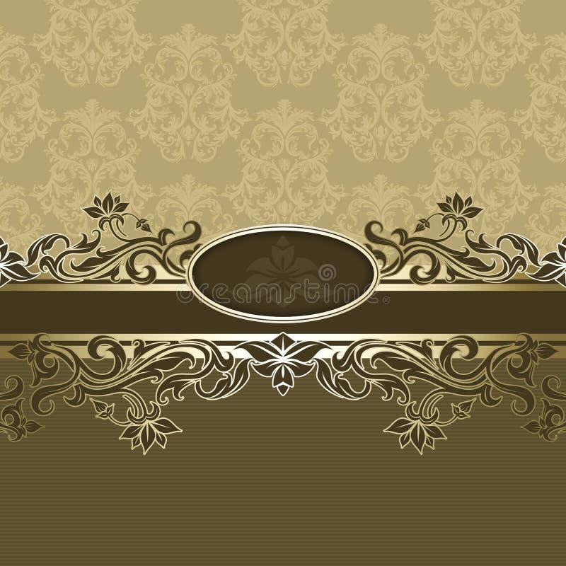 与框架的葡萄酒花卉背景 皇族释放例证