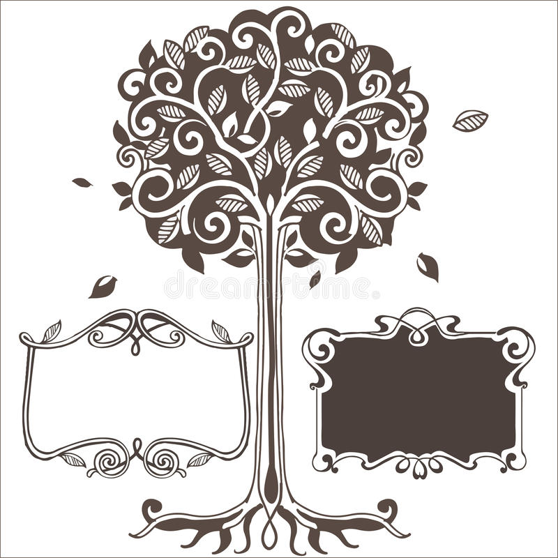 与框架的风格化树 也corel凹道例证向量 库存例证