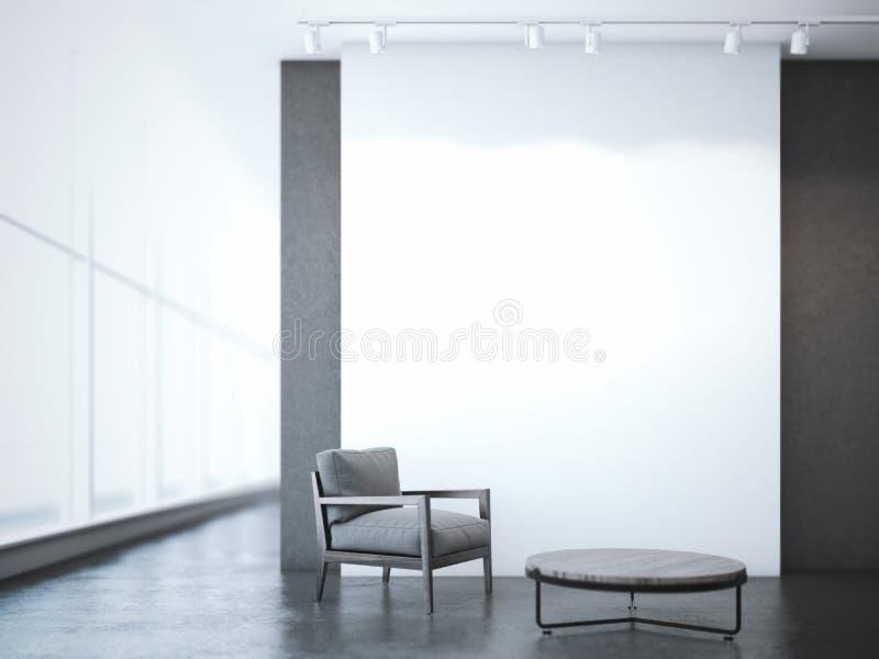 与桌和扶手椅子的办公室内部 3d翻译 库存图片